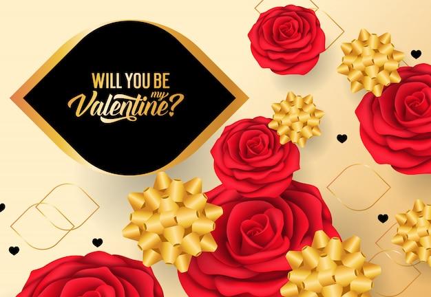 Wirst du mein valentinsgruß-schriftzug mit roten rosen und bögen sein?