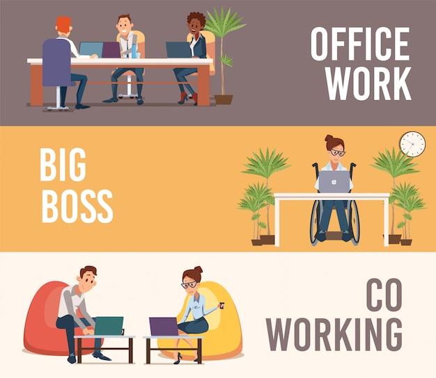Wirtschaftler-büroarbeits-flache vektor-fahnen eingestellt