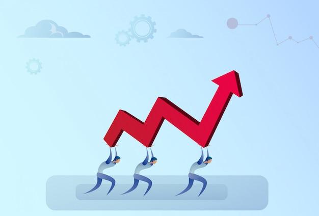Wirtschaftler-gruppe, die finanzpfeil herauf erfolgreiches geschäft team development growth hält