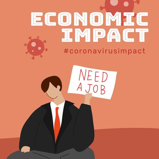 Wirtschaftliche auswirkungen während der coronavirus-pandemie-vorlage