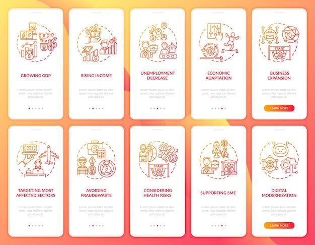 Wirtschaftliche erholung onboarding mobile app seite bildschirm mit festgelegten konzepten. walkthrough zur digitalen modernisierung 5 schritte. ui-vorlage mit rgb-farbabbildungen