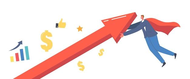 Wirtschaftliche erholung, revival-konzept. geschäftsmann superhelden-charakter in rotem umhang rising up arrow graph versucht, während der globalen krise, der wiederbelebung der wirtschaft zu überleben. cartoon-menschen-vektor-illustration