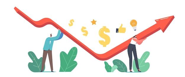 Wirtschaftliche erholung, revival-konzept. geschäftsmann und geschäftsfrau arbeiten zusammen und versuchen, während der globalen krise zu überleben. cartoon-menschen-vektor-illustration