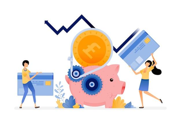 Wirtschafts- und bankensystem für sparen, kredite, schulden und konsum