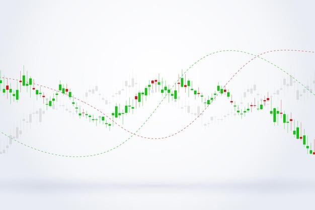 Wirtschaftsdiagramm mit diagrammen an der börse, für geschäfts- und finanzkonzepte und berichte. japanische kerzen. abstrakter vektorhintergrund vector Premium Vektoren