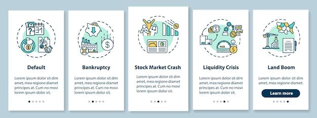 Wirtschaftskrise beim onboarding mobiler app-seitenbildschirme mit konzepten. globale wirtschaftliche und soziale notfälle führen durch fünf schritte grafische anweisungen. ui-vektorvorlage mit rgb-farbabbildungen
