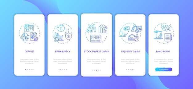 Wirtschaftskrise beim onboarding mobiler app-seitenbildschirme mit konzepten. globale wirtschaftliche und soziale notfälle führen durch fünf schritte grafische anweisungen. ui-vektorvorlage mit rgb-farbabbildungen.
