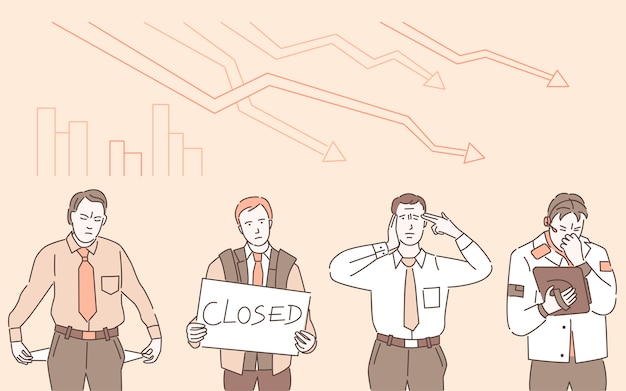 Wirtschaftskrise karikatur gliederung illustration. trauriger mann mit schild, auf dem steht, geschlossen, und mann mit taschen nach außen gedreht, ohne geld. insolvenzverwalter, coronavirus wirtschaftliche folgen.