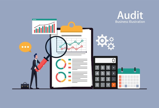 Wirtschaftsprüfung, finanzberichtsdatenanalyse, analytisches buchhaltungskonzept mit diagrammen und diagrammen