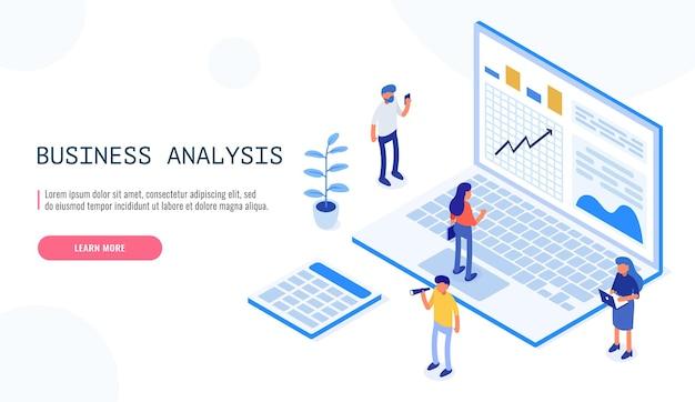 Wirtschaftsprüfung, geschäftsanalysekonzept mit charakteren. konzept der möglichkeiten. grafik- und prüfungsdokumentation, finanzanalyse des finanzbudgets. isometrische vektorillustration.