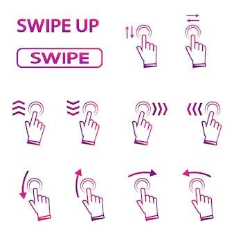 Wischen sie nach oben. hand wischen. satz von symbolen für soziale medien. set von gradienten-swipe-zeichen für story-design-blogger, scroll-piktogramm. siehe mehr symbol, scroll-piktogramm