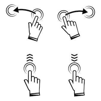 Wischen sie nach oben. hand wischen. satz von symbolen für soziale medien. zeichensatz für story-design-blogger, scroll-piktogramm in schwarzer farbe. scrollen oder wischen sie nach oben. siehe mehr symbol, scroll-piktogramm. vektor