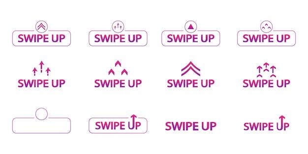 Wischen sie nach oben. set von farbigen wischsymbolen für story-design-blogger, scroll-piktogramm. swipe-buttons für web, internet, geschichten. set mit bunten farbverlaufspfeilen für social media. scrollen oder wischen sie nach oben