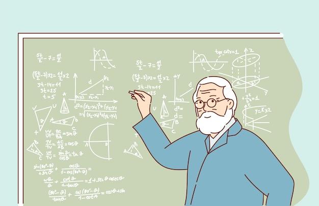 Wissen, ausbildung und bildung und wissenschaft. professor, der das thema der seminarvorlesung mit zeichnungsdiagramm auf der klassentafel erklärt