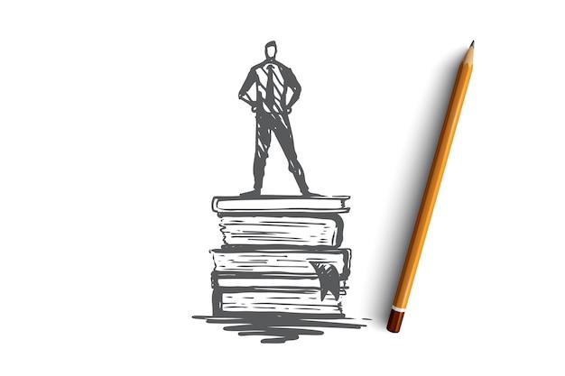 Wissen, buch, bildung, information, lernkonzept. hand gezeichneter mann, der auf buchkonzeptskizze steht.