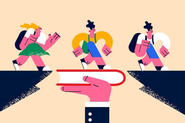 Wissen, bücher lesen, bildungskonzept. junge positiv lächelnde kinder, die auf einem riesigen buch über der lücke in der menschlichen hand laufen und sich mit wissensvektorillustration sicher fühlen