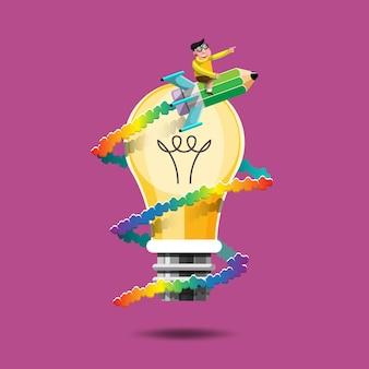 Wissen ist wie eine große macht, die uns vorwärts schickt. wie eine rakete zu fahren. ein kind reitet auf einer bleistiftrakete und umkreist eine glühbirne.
