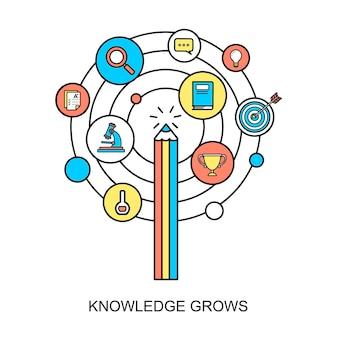Wissen wächst konzept im flat-line-stil