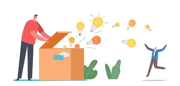 Wissens- und ideenverbreitung, bildung, insight-konzept. männlicher charakter offene riesige box mit leuchtenden glühbirnen, die herausfliegen. aufklärungspropaganda, botschaften. cartoon-menschen-vektor-illustration