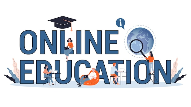 Wissens- und online-bildungskonzept. menschen, die online an der universität lernen. wissenschaft und brainstorming. illustration