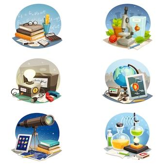 Wissenschaft cartoon set