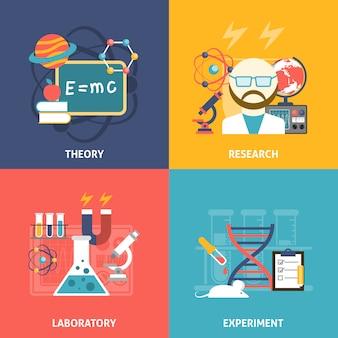Wissenschaft dekorative icon set