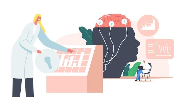 Wissenschaft der neurologie. männlicher arzt charakter am riesigen menschlichen kopf mit gehirn verbunden mit drähten zur anzeige mit eeg