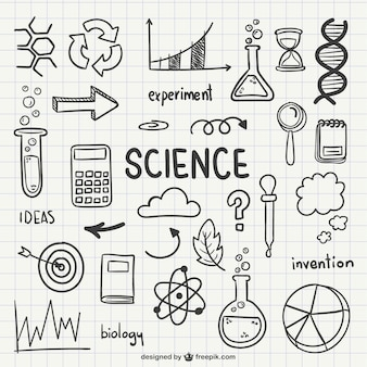 Wissenschaft gezeichnete symbole