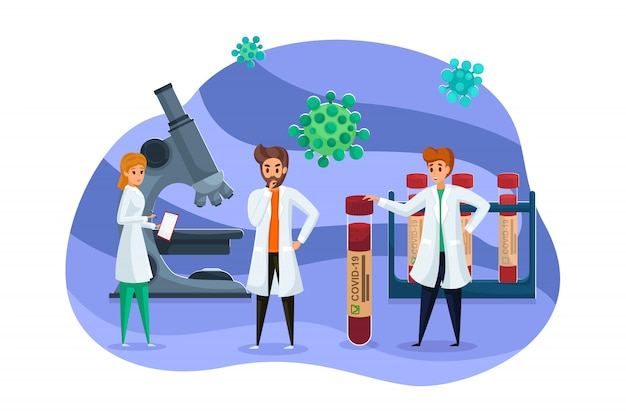 Wissenschaft, impfung, coronavirus, medizin, team, gesundheitskonzept