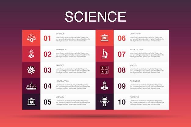 Wissenschaft infografik 10 option vorlage.erfindung, physik, labor, universität einfache symbole