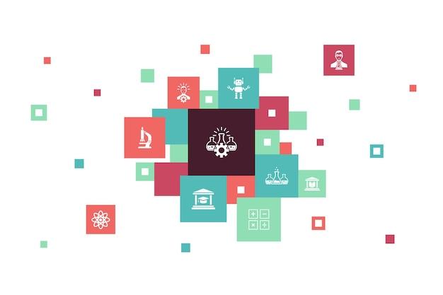 Wissenschaft infografik 10 schritte pixeldesign. erfindung, physik, labor, universität einfache symbole