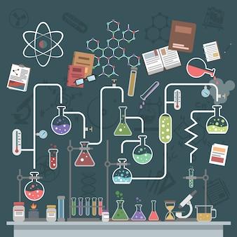 Wissenschaft konzept flach