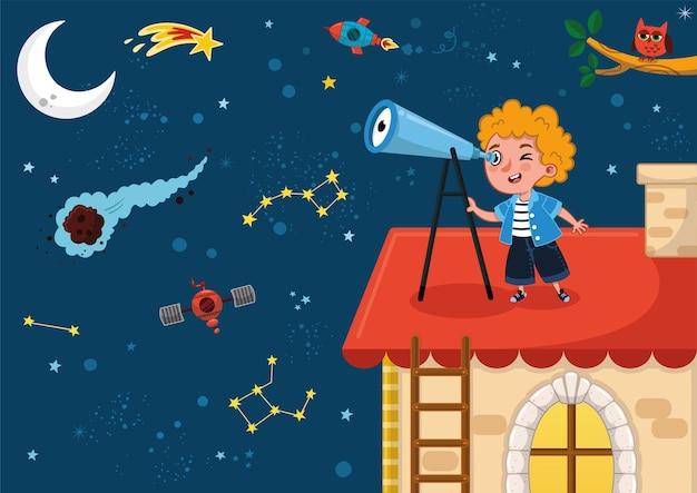 Wissenschaft liebendes kind beobachtet den raum auf seinem dach mit seiner teleskop-vektor-illustration