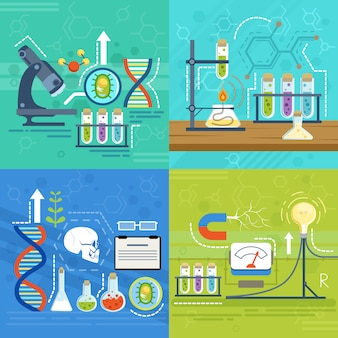 Wissenschaft mit verschiedenen chemikersymbolen