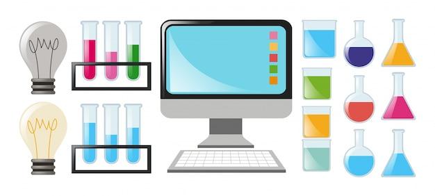Wissenschaft set mit bechern und computer