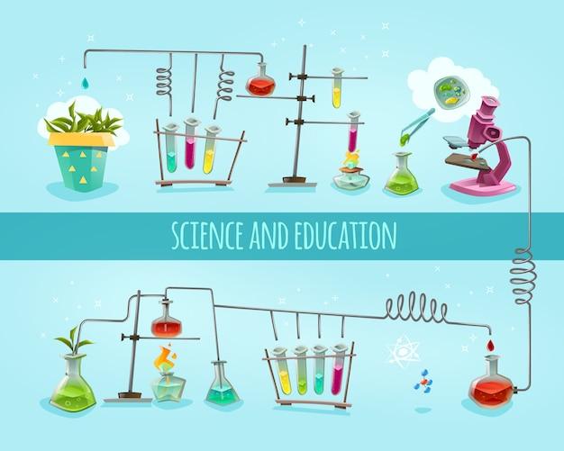 Wissenschaft und bildungslabor flacher hintergrund