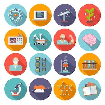 Wissenschaft und forschung icon flat