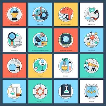 Wissenschaft und technologie flache icons set