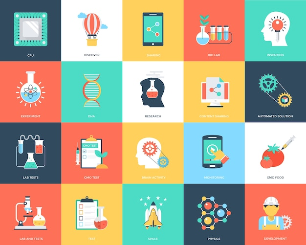 Wissenschaft und technologie flache vektor-icons set