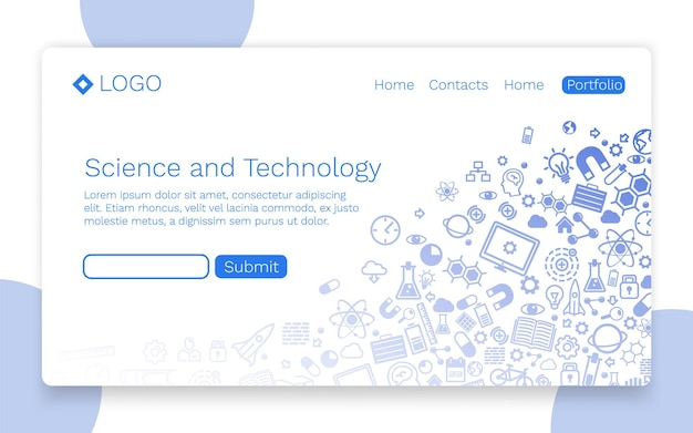 Wissenschaft und technologie, symbolhintergrund, landingpage-konzept. vektor-illustration