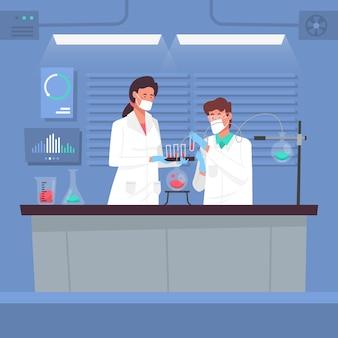 Wissenschaftler arbeiten im labor zusammen