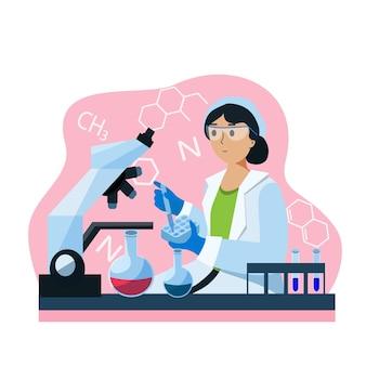 Wissenschaftler bei der arbeit im labor mit mikroskopfiguren, die experimente im labor durchführen