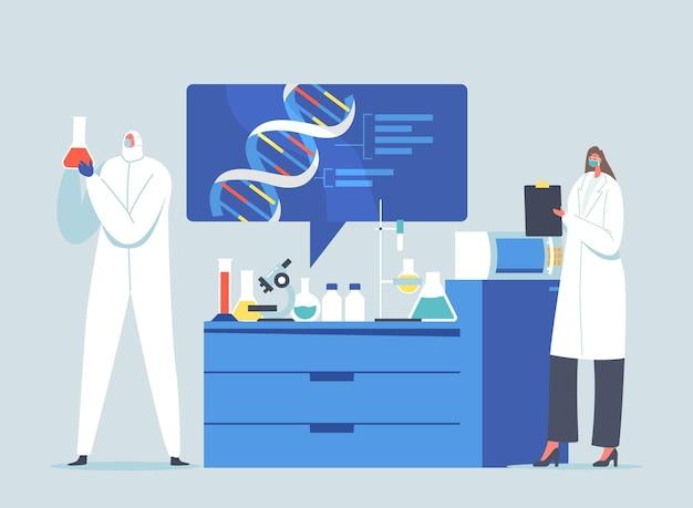Wissenschaftler charaktere forschungsarbeit im wissenschaftlichen labor. medizintechnik, gentests. genetiker mit dna