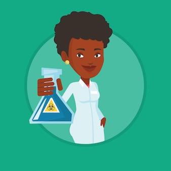 Wissenschaftler, der flasche mit biohazard-zeichen hält.