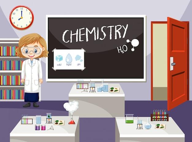 Wissenschaftler, der im klassenzimmer arbeitet