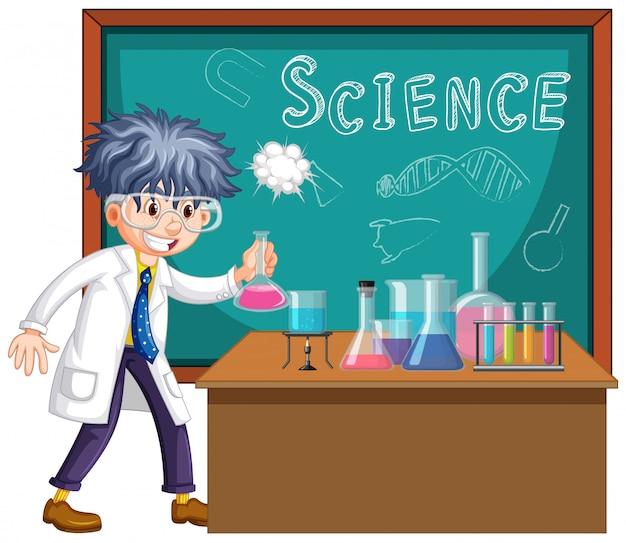 Wissenschaftler, der mit wissenschaftswerkzeugen im labor arbeitet