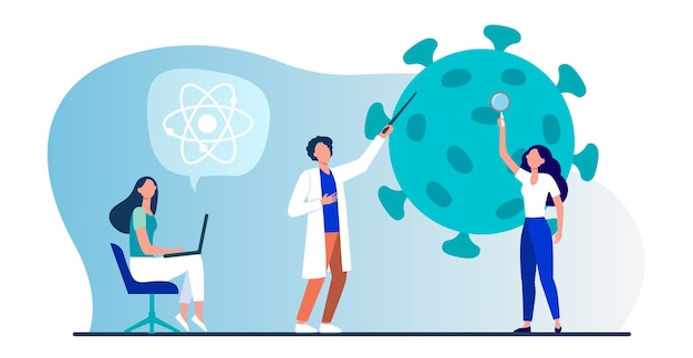 Wissenschaftler, die das coronavirus untersuchen. expertenteam, das flache vektorillustration der medizinischen forschung tut. virus, pandemie, wissenschaft