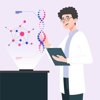Wissenschaftler, die dna-moleküle halten