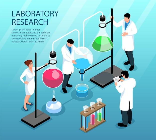 Wissenschaftler, die forschung betreiben, arbeiten mit bunter flüssigkeit in flaschen und röhrchen 3d isometrisch