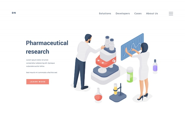 Wissenschaftler, die gemeinsam pharmazeutische forschung betreiben. illustration